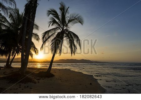 View of the beach with palm trees in Puerto Viejo de Talamanca Costa Rica at sunset; Concept for travel in Costa Rica