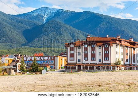 Bansko, Bulgaria - April 14, 2017: Bansko, Bulgaria spring view with aldo, mountains peaks landscape and houses