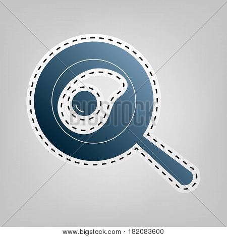 Omelet at pan icon. Vector. Blue icon with outline for cutting out at gray background.