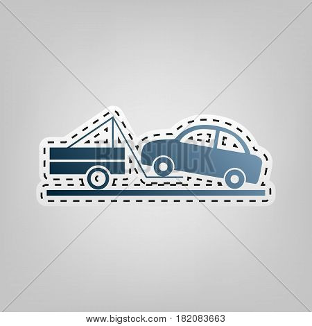 Tow truck sign. Vector. Blue icon with outline for cutting out at gray background.