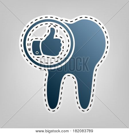 Tooth sign with thumbs up symbol. Vector. Blue icon with outline for cutting out at gray background.