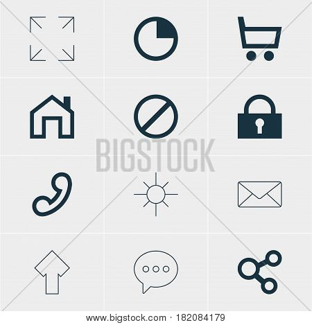 Vector Illustration Of 12 Interface Icons. Editable Pack Of Upward, Access Denied, Mainpage And Other Elements.