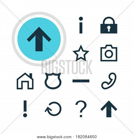 Vector Illustration Of 12 Interface Icons. Editable Pack Of Snapshot, Padlock, Top And Other Elements.