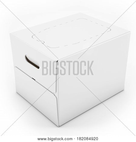 3D White Blank Carton Box