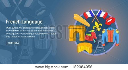 French language horizontal concept. Cartoon illustration of french language banner horizontal vector for web