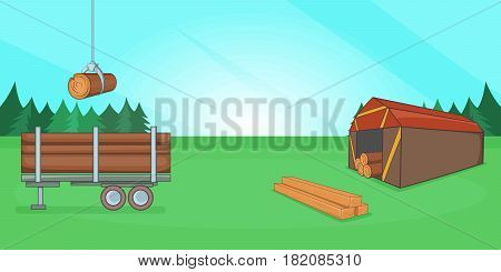 Logging banner horizontal concept. Cartoon illustration of logging banner horizontal vector for web