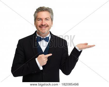 Man presenting copy space