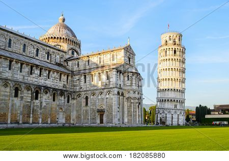 Sunset view of Leaning Tower of Pisa and Cathedral, Tuscany, Italy