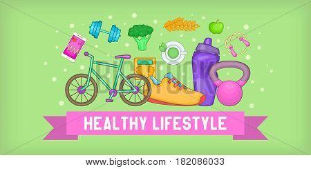 Fitness banner horizontal concept. Cartoon illustration of fitness banner horizontal vector for web
