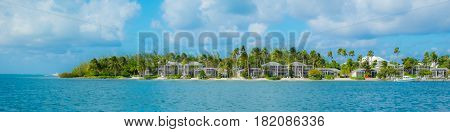 Panoramic view of Kaibo seafront by the Caribbean sea in Cayman Islands