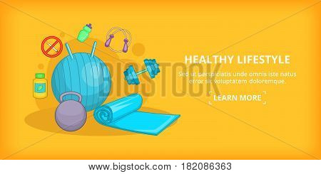 Fitness banner horizontal concept lifestyle. Cartoon illustration of fitness lifestyle banner horizontal vector for web
