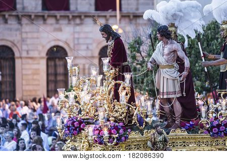 Linares, SPAIN - April 14: Brotherhood of Holy Week call in Spanish