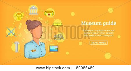 Museum banner horizontal concept guide. Cartoon illustration of museum guide banner horizontal vector for web