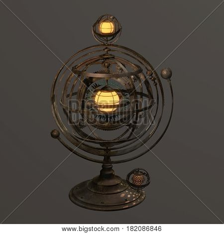 Fantasy steampunk armillary sphere styled lamp. Rendered object.