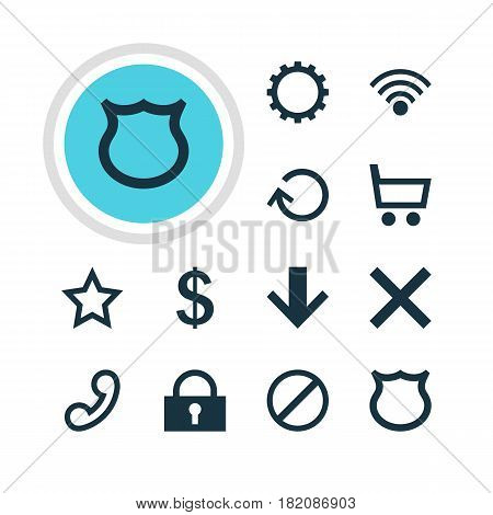 Vector Illustration Of 12 User Icons. Editable Pack Of Asterisk, Downward, Money Making And Other Elements.