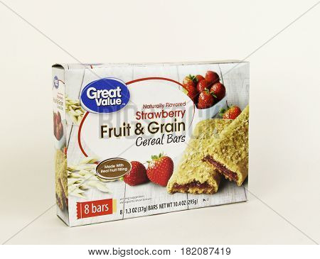Spencer Wisconsin April 17 2017 Great Value Fruit and Grain Cereal Bars Great Value is a Walmart brand product