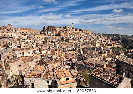 Matera, Basilicata, Italy: view at sunrise of the picturesque old town