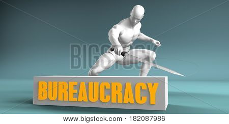 Cutting Bureaucracy and Cut or Reduce Concept 3D Illustration Render