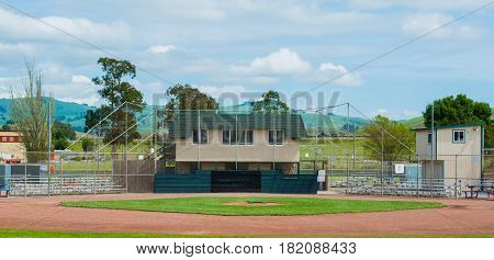 Baseball infield an park ready for the game