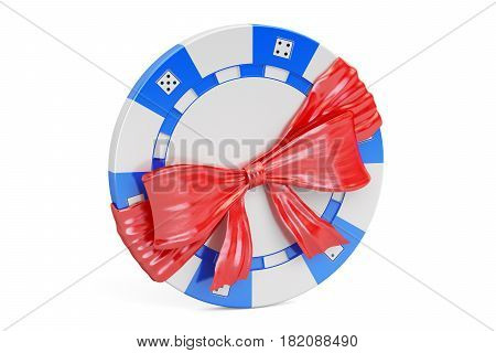 Casino token with bow and ribbon gift concept. 3D rendering isolated on white background