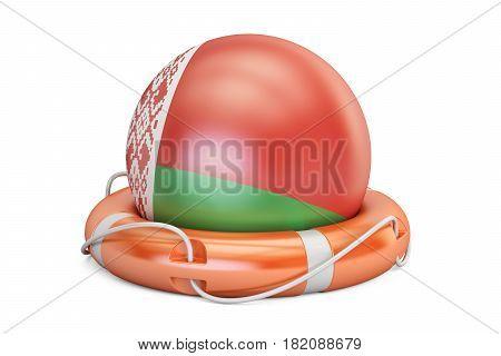 Lifebelt with Belarus flag safe help and protect concept. 3D rendering
