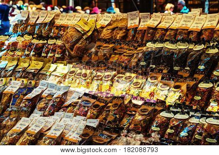 ROME, ITALY - JULY 12, 2015: Rows of traditional italian pasta at street food market during the sunny day in Rome, Italy