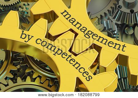 management by competences concept on the gearwheels 3D rendering