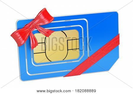 Sim Card with bow and ribbon closeup gift concept. 3D rendering isolated on white background