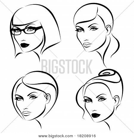 Hairstyles & Makeup. Vector illustration.