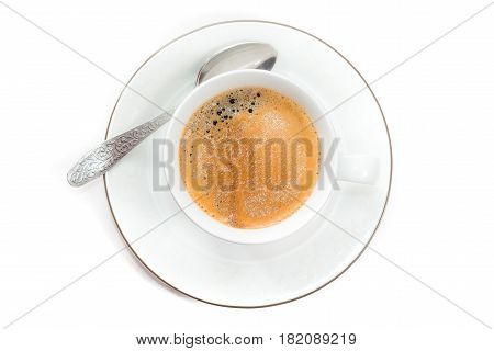 Top view to cup of fresh brewed espresso
