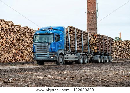 Maritime transportation industry. Log truck waiting list for unloading.