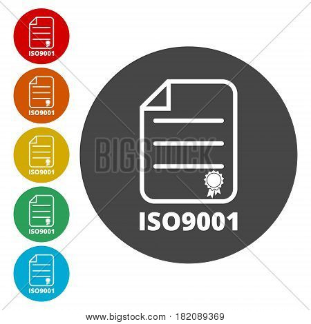 ISO 9001 certified sign icon, simple vector icon
