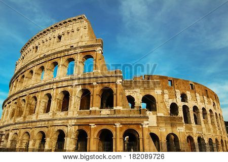 The famous  Colisseum monument  in Rome ,Italy.
