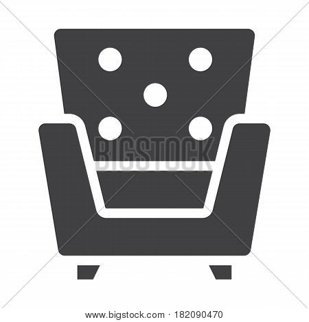 Armchair solid icon, Furniture and interior element, vector graphics, a filled pattern on a white background, eps 10.