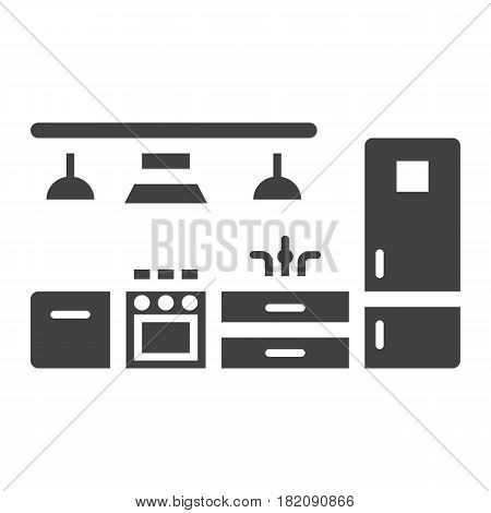Kitchen furniture solid icon, Furniture and interior element, vector graphics, a filled pattern on a white background, eps 10.