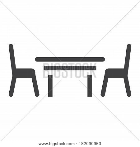 Dining table solid icon, Furniture and interior element, vector graphics, a filled pattern on a white background, eps 10.