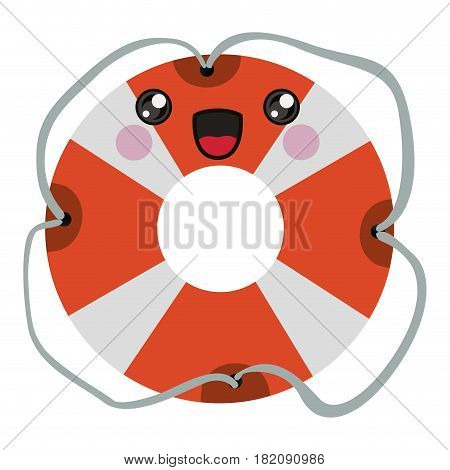 colorful cartoon flotation hoop with tether vector illustration