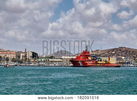 Cartagena, Spain - July 13, 2016: Rescue tug Clara Campoamor of the Spanish SAR stopped in Cartagena harbor in the Mediterranean sea