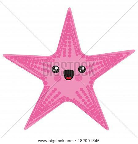 white background with cartoon pink starfish vector illustration