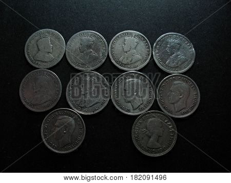 Pre Decimal Vintage Australian silver Sixpence coin Photo.