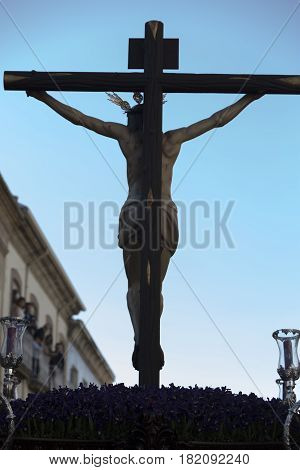 Figure of Jesus on the cross carved in wood by the sculptor Gabino Amaya Guerrero Holy Christ of the expiry Linares Jaen province Spain