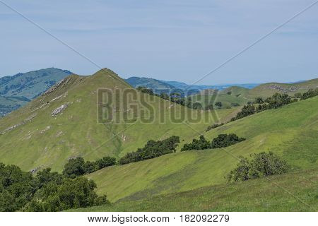 Naked Peak: view from the top of Flag Hill, from the Flag Hill Hiking Trail, in Sunol Regional Wilderness Park