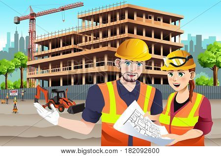 A vector illustration of Female Construction Worker Working with a coworker