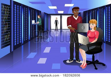 A vector illustration of Technology People Working in Data Center