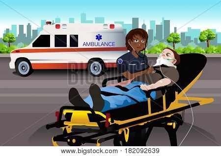 A vector illustration of Female Paramedic Examining a Patient