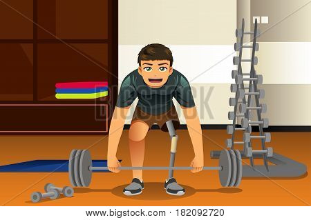 A vector illustration of Disabled Athlete Exercising Lifting Weights