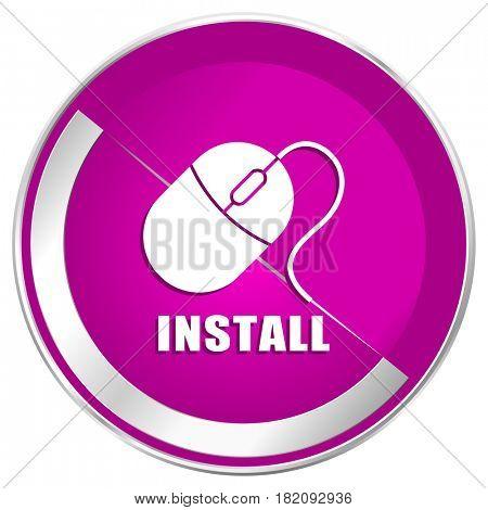 Install web design violet silver metallic border internet icon.