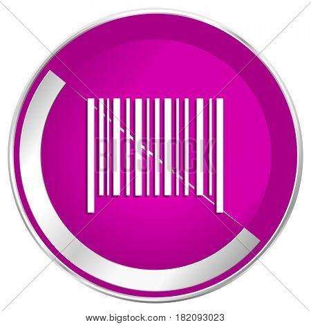 Barcode web design violet silver metallic border internet icon.