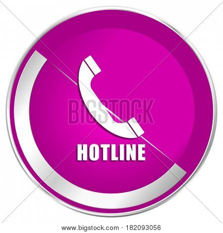 Hotline web design violet silver metallic border internet icon.