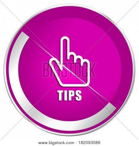 Tips web design violet silver metallic border internet icon.